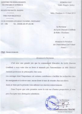 Lettre du proviseur du lycée Ouezzin